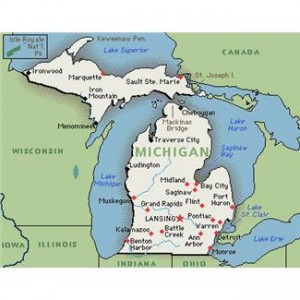 Michigan encarta map